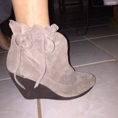 Booties gray Suede good quality Express Shoes Ankle Boots & Booties
