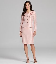 Kasper 2-Piece Crinkle Satin Skirted Suit. Pretty in pink!