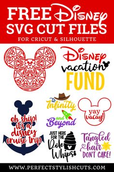 Free Disney Vacation SVG Files For Cricut and Silhouette - PerfectStylishCuts Disney Font Free, Disney Diy, Disney Crafts, Disney Fonts, Disney Magic, Cricut Svg Files Free, Cricut Fonts, Cricut Vinyl, Cricut Air