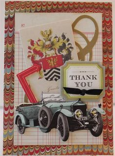 THANK YOU FOR HIM VINTAGE AUTO HANDMADE GREETING CARD ANNA GRIFFIN STYLE #ThankYou