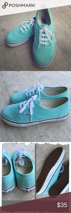 Mint Green Vans Mint Green Vans. Great condition! Couple of small stains on left shoe and some light yellow marks. Hardly noticeable. (See pics) Rubber part is a little dirty. Great deal! These are a kids size 3. I am a size 6 and they fit me perfectly. #turquoise, #Seafoam green Vans Shoes Sneakers