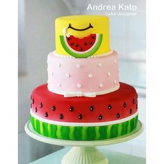 I hope you enjoy these amazing WATERMELON THEME CAKE ideas. Cute Watermelon, Watermelon Birthday, Watermelon Cakes, Cake Cookies, Cupcakes, Pinterest Cake, Fake Cake, Fruit Decorations, Summer Cakes