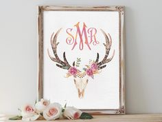 REPIN NOW for later! Custom Monogram Wall Art Printable Personalized Watercolor Print Deer Antlers Nursery Decor Boho Chic Home Decor Printable Bohemian Art by DigartDesigns on Etsy