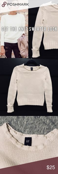 GAP Cozy Knit Crewneck Sweater Keep warm in this super cute and cozy knit sweater from the Gap. Get the trendy look from a quality name brand product. Features a crew neck and folded button clasp sleeves. Trendy off-white color that is so popular right now. Worn but in great condition, no flaws. GAP Sweaters Crew & Scoop Necks
