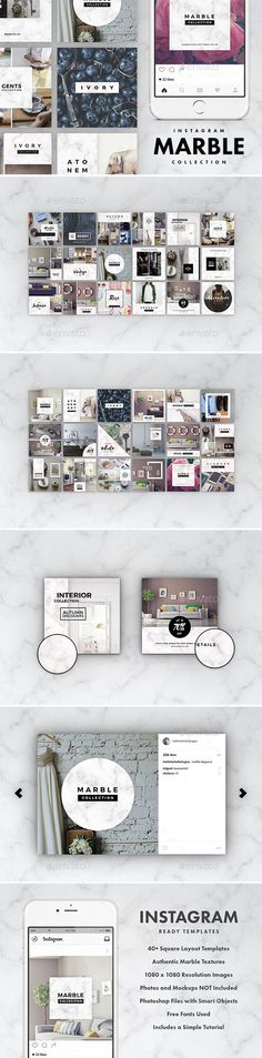 Instagram Marble Pack — Photoshop PSD #luxury #instagram • Download ➝ https://graphicriver.net/item/instagram-marble-pack/19230200?ref=pxcr