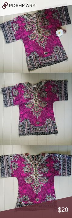"""Vintage 70s Dashiki Tunic Shirt Vintage 1970s Dashiki tunic in vibrant, gorgeous colors. 100% cotton. Extra large. Bust measures 46"""" and length is 32"""". Shirt is in excellent condition with no flaws or wear to fabric. Vintage Tops Tunics"""