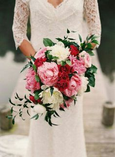Lovely Bridal Bouquet Comprised Of White & Pink Peonies, Pink English Garden Roses, Red English Garden Roses & Beautiful Green Foliage××××
