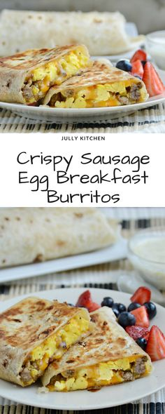 Scrambled foodstuff, sausage, and cheeseflower are coiled into a flour tortilla and browned on the stove until tender. Make them heavenward . Vegetarian Breakfast, Breakfast Recipes, Sausage Breakfast, Make Ahead Breakfast Burritos, Jack Food, Easy Delicious Recipes, Tasty, Sausage And Egg
