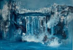 Originalt akrylmaleri Figurative, Monochrome, Waves, Artwork, Painting, Outdoor, Abstract, Outdoors, Work Of Art