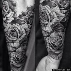 Black and Grey Rose Tattoos