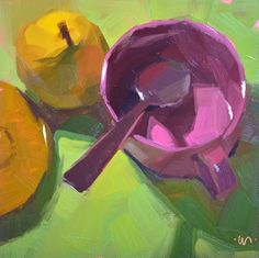 "Carol Marine's Painting a Day: ""Pear Fare"" (6x6)"