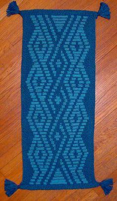"Ply-Split Rug ""Blue Interlacements"" by Linda Hendrickson, 2008.  Wool cords."