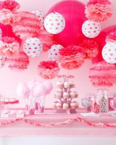This would be fun for a sleep over... just because party... baby shower Cotton Candy Party Ideas