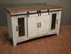 Rustic Solid Reclaimed wood TV stand Media Center / Sideboard with 4 doors and shelves