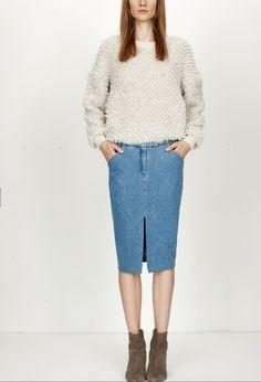 Nanushka Kety sweater  pencil skirt
