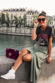 Trendy Summer Outfits, Spring Outfits, Casual Outfits, Outfit Summer, Summer Outfits With Converse, Dress And Converse, Hot Day Outfit, Converse Style, Converse Chuck