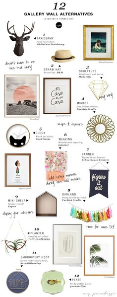 fun ideas on how to mix art and objects on a gallery wall. 12 alternative items to hang on a gallery art wall Foto Poster, Creation Deco, Art Mural, Inspiration Wall, First Home, My New Room, Creative, Gallery Walls, Mirror Gallery Wall