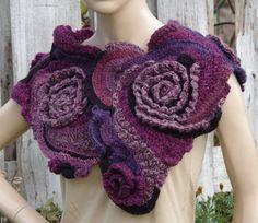 Crochet  Scarf Capelet Woman winter fashion Neck Warmer Freeform crochet Shadows Purple Pink Black  Womens scarf Freeform Crochet scarf/gift
