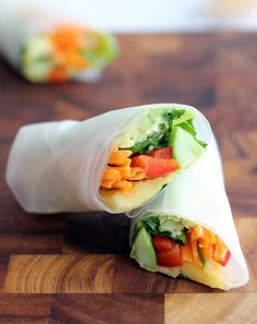 Vietnamese Summer Rolls with mango and avocado. Vegan, Gluten-Free, and perfect for hot summer weather!