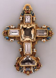 Reliquary cross Date: last quarter 16th century Culture: probably Southern German Medium: Gold, partly enameled, set with rock crystal.
