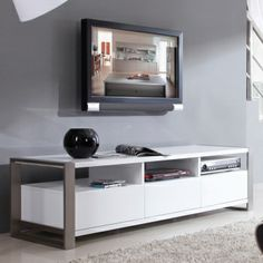 "B Modern Stylist 63"" Contemporary Tv Stand In High Gloss White Lacquer"