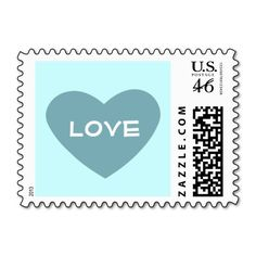 Blue Heart with Love text Postage Stamps