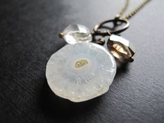 Quartz Trio Pendant on Brass Chain, Long Layering Necklace, Boho Necklace, Winter Fashion