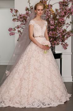 Blush la vie en rose lace ball gown wedding dress with illusion neckline. Legends Romona Keveza Spring 2017 Bridal Collection, Bridal Fashion Week