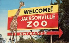 Jacksonville Zoo ~ Welcome Sign, FL Orange Park Florida, Old Florida, Jacksonville Zoo, Entrance Signage, Summer Memories, Childhood Memories, Clay County, Drive In Theater, Sunshine State
