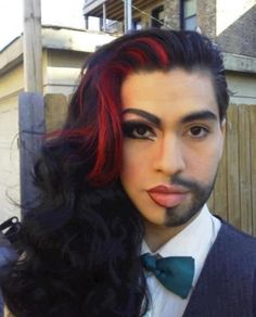 The Best of Both Worlds. Great job on the make-up. When you look at each side, it's really hard to tell whether this is a female or male. Excellent!