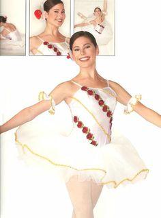 ROSE White w/Roses Gold Trim & Cuffs Ballet Tutu Ballerina Dance Costume Adults #Leos