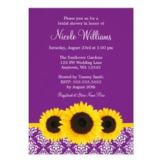 548106e26a4 Sunflowers Purple and White Damask Bridal Shower Personalized Invitations  Purple Wedding Invitations
