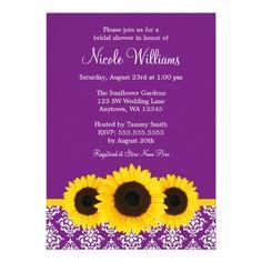 548106e26a4 Sunflowers Purple and White Damask Bridal Shower Personalized Invitations  Purple Wedding Invitations