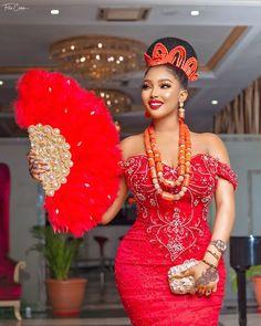 Traditional Wedding Attire for Igbo Brides - 2020 Igbo Bridal Wear Edition Nigerian Wedding Dresses Traditional, Traditional Wedding Attire, African Traditional Dresses, Lace Dress Styles, African Lace Dresses, Latest African Fashion Dresses, Modern African Dresses, African Lace Styles, African Wedding Attire