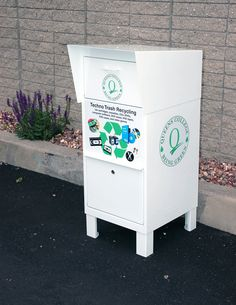 Graphics for recycling bins for City of New York University campus