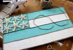 DIY aqua and white flag sign with starfish: http://www.completely-coastal.com/2016/02/beige-aqua-beach-decor.html