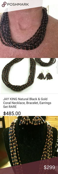 Jay King natural black&gold Coral necklace/earring Jay King DTR black and gold natural Coral necklace, earring set $ 485 for 3 pc set(sold bracelet though. ) earrings set. Sterling silver end caps with multiple strands. Sterling silver beads. Extender chain. Earrings have sterling silver leverback. Jay King Jewelry Necklaces