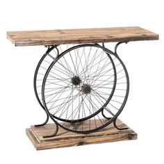 Recycle your cycle - work bench or coffee table? Repurposed Furniture, Industrial Furniture, Diy Furniture, Furniture Design, Industrial Style, Bicycle Decor, Bicycle Art, Bicycle Painting, Bicycle Wheel