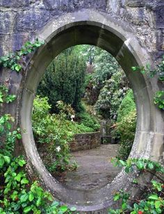 Garden entry way - As I repin this I am not sure this is an entry but a a window in a wall that allows you to see the garden beyond. What do you think?