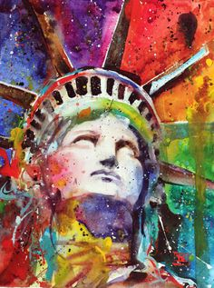 STATUE of LIBERTY Watercolor Print by Dean by DeanCrouserArt