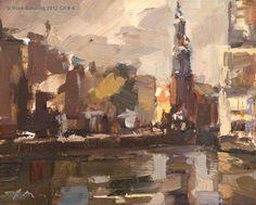 """""""Cityscape Amsterdam No. 4 Munttoren"""" - Original Fine Art for Sale - © Roos Schuring"""
