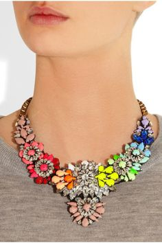 Beaded Necklace, Bubble Bib Necklace, Statement Necklace, Crystal Rainbow Neon Necklace, Bridemaids Wedding Gift shourouk inspired