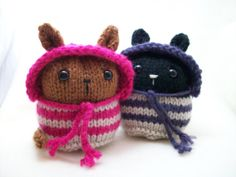 Custon Knitted Knitty Kin Kitty with hood by BlueCatCraft on Etsy, $17.00