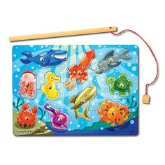 Melissa and Doug Magnetic Wooden Fishing Game with Magnetic Fishing Pole >>> Learn more by visiting the image link. Toys R Us, Kids Toys, Baby Toys, Baby Play, Puzzles 3d, Wooden Puzzles, Wooden Toys, Melissa & Doug, Toy Store