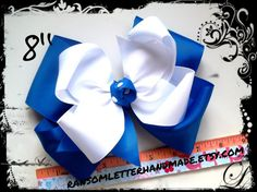 Jumbo 8 Two Color Hair Bow Royal & White Extra Large Hair Bows Handmade Huge Big Bows 2 Color HairBows King Size Hair Bow Huge Bows by ransomletterhandmade