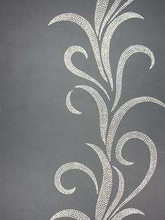 Metallic silver on gray wallpaper love this. Similar to my study