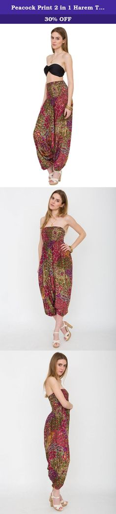 Peacock Print 2 in 1 Harem Trouser Jumpsuit Pink. We had these gorgeous multi-functional outfits made in vibrant colours. Wear as harem style trousers or as a comfy jumpsuit. Perfect for weekends and holidays as can easily be dressed up or down. Also great for dance, beach, festivals and general casual chic. Also popular as maternity wear.