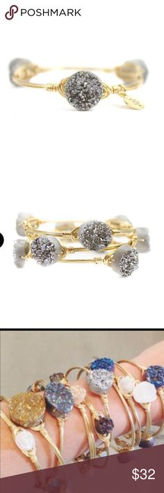NWT bourbon & boweties silver druzy bracelet NWT · Standard size · silver druzy stone · gold hardware · wear solo or stack for style! Great gift!!  Bourbon and Bowties Jewelry Bracelets