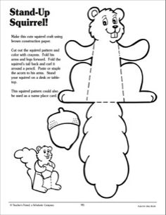 Stand-Up Squirrel: Craft Activity - Printable Worksheet Fall Preschool, Preschool Crafts, Easter Crafts, Animal Crafts For Kids, Toddler Crafts, Art For Kids, Autumn Activities, Preschool Activities, Fall