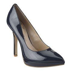"""Navy patent. nine west As seen in the pages of InStyle, Essence, Glamour  Weight Watchers magazines....the Love Fury pump was designed with a woman's obsession for shoes in mind.  Pointy toe platform pump with all leather upper.  4.5"""" heel and 3/4"""" platform. Found exclusively at ninewest.com"""